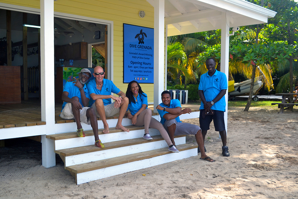 Dive Shop in Grenada Front with Staff